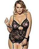 Kwelt Lencería Sexy Mujer Tallas Grandes Mujeres Lace Lingerie Babydoll Vestido Pijamas Ropa Interior Ropa de Dormir Camisones Lencería Erotica Mujer