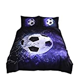 Onlyway - Juego de Funda de edredón y Funda de Almohada, diseño de fútbol, Multiple, 150 * 210cm for 1.2M Bed