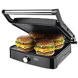Aigostar Calore 30HHK - Grill, parrilla, sandwichera y máquina de panini, 1800 W de potencia, 2 placas de cocinado independientes antiadherentes