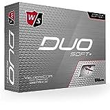 Wilson Staff, Bola de golf DUO Soft, 2 capas, Para máxima distancia, Pack de 12, Jugadores avanzados, Blanco y Rojo