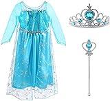 Vicloon - Disfraz de Princesa Elsa - Reino de Hielo - Vestido de Cosplay de Carnaval, Halloween y la Fiesta de Cumpleaños - 3pcs 110 (Para 3-4 Años)