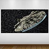 Extra Grande Espacio Star Wars Halcón Milenario de la fantasía de Vinilo Póster - Mural Decoración - Etiqueta de la Pared -140cm x 70cm