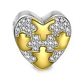 NINAQUEEN Charm Encaja con Pandora San Valentín Regalos Mujer Originales Corazón Oro Dos Tonos Plata 925 Abalorios