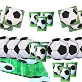Suministros de Paquete de Fiesta de fútbol Decoraciones de fútbol de vajilla de cumpleaños de niños para 16 Invitados - Globos de Placas de Fiesta de fútbol - Bombas de Globos Gratis Velas