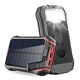 Solar PowerBank 26800mAh Cargador Solar,Carga inalámbrico, batería Externa de 4 Puertos (USB), Carga rápida 3.1A Tipo C para Tabletas, Teléfono móvil, Linterna LED 18 para Viajes de Campamento