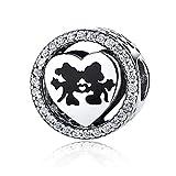 NINGAN Disney, Mickey & Minnie Love, Abalorio de plata de ley 925 con encanto transparente, compatible con pulseras y otras pulseras de abalorios europeas (Mickey)
