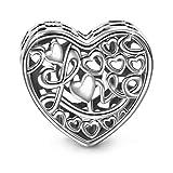 NINAQUEEN Charm Encaja con Pandora San Valentín Regalos Mujer Originales Amor Calado Plata 925 Abalorios