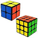 EASEHOME Speed Magic Cube Set 2x2x2 + 3x3x3, 2 Pack Puzzle Cubes Rompecabezas Cubo Mágico PVC Pegatina para Niños y Adultos