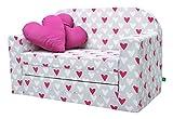 Lulando Classic, sofá infantil, sillón infantil, sofá cama, mobiliario infantil para dormir y jugar, estrellas gris corazones