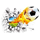 Saflyse Vinilo decorativo para pared, adhesivo, 3D, diseño de fútbol, 70x 50cm