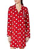 Women' Secret Camisón Manga Larga Estampado Lunares Camisola, Granate, XL para Mujer