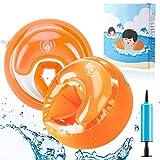 AGPTEK Manguitos de Natación para Niños de 6-20Kg Adecuado Brazo 21-23cm, PVC Flotador para Bebe con Bomba, Naranja