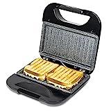 Cecotec Rock'nToast Square - Sandwichera con Revestimiento Antiadherente, Capacidad para 2 Sandwiches, Superficie Grill, Asa Tacto Frío, Recogecables, 750 W