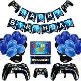 Vubkkty Juego de 50 pancartas y globos para fiestas de videojuegos con texto en inglés 'Happy Birthday' y juego de regalo para niños
