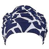 TININNA Gorra de Natación de Baño,Respirable Tela de Tela Plisada Flexibles Gorro de Baño Pelo Largo Gorro de Natación Protección para Los Oídos Sombrero de Baño para Hombres/Mujeres.5#