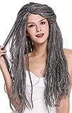 WIG ME UP- 09428-ZA103/ZA68A Peluca Mujer Hombre Carnaval Halloween Larga voluminosa Mezcla Gris Negro Viejo Mago Bruja Brujo Hippie