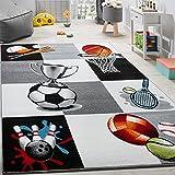 Paco Home Alfombra Infantil De Baloncesto Fútbol Y Tenis A Cuadros En Gris Y Crema, tamaño:120x170 cm