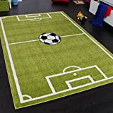 Paco Home Alfombra Infantil - Diseño Campo De Fútbol - Verde, tamaño:80x150 cm